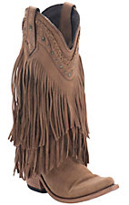 Liberty Black� Women's Tan Buckskin Vegas T-Moro Fringe Snip Toe Western Fashion Boots