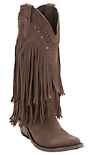 Liberty Black® Women's Chocolate Vegas T-Moro Fringe Snip Toe Western Fashion Boots