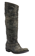 Liberty Black Women's El Paso Vintage Black with Stud Wrap Tall Top Round Toe Western Fashion Boots