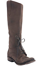 Liberty Black Ladies Chocolate Distressed Tocato Lace Round Toe Tall Western Fashion Boots