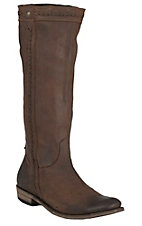 Liberty Black Women's Distressed Chocolate Vegas with Braided Detail Round Toe Western Fashion Boots