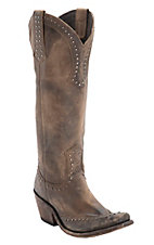 Liberty Black Women's Cognac Distressed Studded Snip Toe Western Fashion Boots