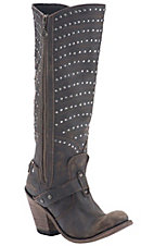 Liberty Black Women's Brown Distressed Studded Harness Round Toe Western Fashion Boots