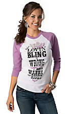 ATX Mafia® Women's White If Lovin' Bling Is Wrong with 3/4 Purple Sleeves Baseball Tee
