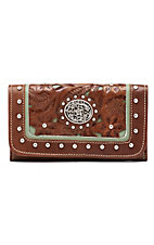 American West® Ladies Lady Lace Antique Brown and Turquoise Floral Concho Wallet