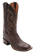 Lucchese® Cowboy Collection™ Men's Barrel Brown Giant Hornback Caiman Tail Double Welt Exotic Square Toe Boots
