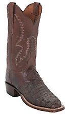 Lucchese® Cowgirl™ Ladies Barrel Brown Burn Hornback Caiman Exotic Square Toe Boot