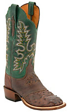 Lucchese® Cowgirl™ Ladies Brown Full Quill Ostrich w/Green Top Exotic Square Toe Boot