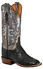 Lucchese® Cowgirl™ Ladies Black Full Quill Ostrich w/Metallic Exotic Square Toe Boot