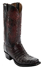 Lucchese® 1883™ Men's Black Cherry Ultra Belly Caiman 7-Toe Narrow Punchy Toe Exotic Western Boots