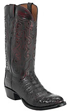 Lucchese 1883 Men's Black Cherry Caiman Crocodile Belly Exotic Western Boots