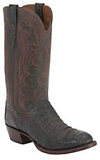 Lucchese 1883 Men's Barrel Brown Caiman Crocodile Hornback Exotic Western Boots