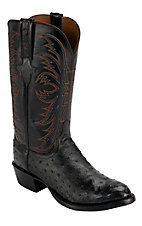 Lucchese 1883 Men's Black Full Quill Ostrich Exotic R-Toe Western Boots
