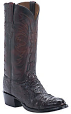 Lucchese 1883 Men's Black Cherry Full Quill Ostrich Exotic R-Toe Western Boots