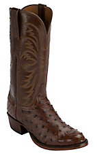 Lucchese 1883 Men's Sienna Brown Full Quill Ostrich Exotic R-Toe Western Boots