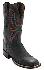 Lucchese Cowboy Collection Men's Black Smooth Ostrich Exotic Square Toe Boots