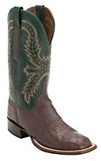 Lucchese Cowboy Collection Men's Sienna Brown Smooth Ostrich w/ Green Upper Exotic Square Toe Boots