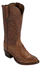Lucchese® 1883™ Men's Barnwood Tan Full Quill Ostrich Exotic R-Toe Western Boots