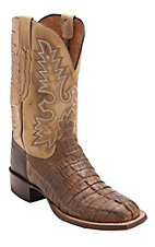 Lucchese® Cowboy Collection™ Men's Tan Burnished Jacare Hornback Caiman Tail Double Welt Exotic Square Toe Boots