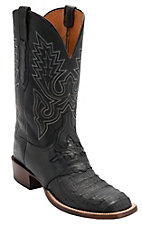 Lucchese® Cowboy Collection™ Men's Black Jacare Hornback Caiman Tail Saddle Vamp Double Welt Exotic Square Toe Boots