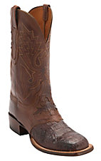 Lucchese® Cowboy Collection™ Men's Barrel Brown Jacare Hornback Caiman Tail Saddle Vamp Double Welt Exotic Square Toe Boots