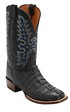 Lucchese Cowboy Collection Men's Black Jacare Hornback Caiman Tail Double Welt Exotic Square Toe Boots
