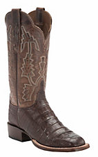 Lucchese1883 Women's Barrel Brown Crocodile Tail Square Toe Exotic Boot