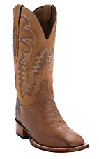 Lucchese Cowboy Collection Men's Barnwood Smooth Ostrich Exotic Square Toe Boots