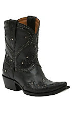 Lucchese 1883 Women's Black Floral Tooled with Studs & 8in Top Snip Toe Western Boots