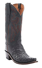 Lucchese 1883 Black Pin Full Quill Ostrich Snip Toe Western Boots
