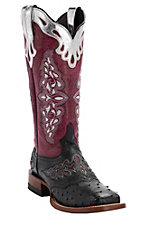 Lucchese 1883 Red Collection Women's Black Full Quill w/Pink Aisha Top Exotic Western Square Toe Boots