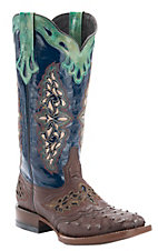 Lucchese�1883? Women's Sienna Brown Full Quill Ostrich with Blue Top Square Toe Western Boot