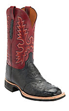 Lucchese® Cowboy™ Mens Black Full Quill Ostrich Red Top Square Toe Crepe Exotic Boot