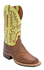 Lucchese Mens Barnwood Brown Full Quill Ostrich w/Green Top Square Toe Western Boot