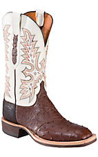 Lucchese Mens Brown Full Quill Ostrich w/Ivory White Exotic Square Toe Crepe Boot