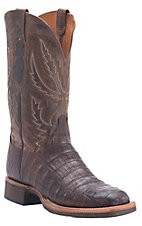 Lucchese1883 Men's Barrel Brown Crocodile Tail Square Toe Crepe Exotic Boot