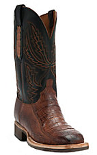 Lucchese1883 Men's Cognac Burnished Crocodile Tail Square Toe Crepe Exotic Boot