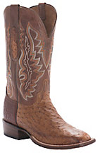 Lucchese® Cowboy Collection™ Men's Brown Full Quill Ostrich Exotic Square Toe Boots