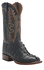 Lucchese Cowboy Collection Men's Black Giant Croc Tail Exotic Square Toe Boot