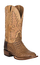Lucchese Cowboy Collection Mens Tan Brown Hornback Gator Exotic Square Toe Boots