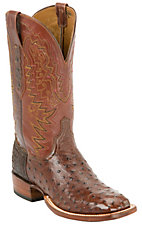 LuccheseCowboy Collection  Mens Sienna Full Quill Ostrich Exotic Square Toe Boot