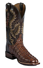 Lucchese Cowboy Collection Men's Cigar Giant Croc Tail Exotic Square Toe Boot