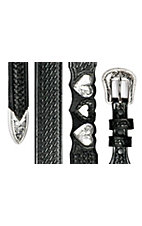 Silver Creek® Ladies Black Basket Weave Double Heartz Western Belt LGN80033