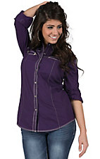 Rock 47 by Wrangler Women's Purple with Rhinestud Embroidery Long Sleeve Western Shirt