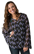 Rock 47 by Wrangler Women's Black & Purple Ikat Print Long Bell Sleeve Blouse