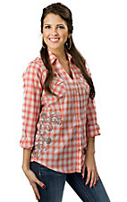 Rock 47™ by Wrangler® Women's Orange and White Plaid with Embroidery Long Sleeve Western Shirt
