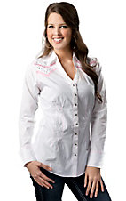 Rock 47™ by Wrangler® Women's White with Pink Embroidery and Studs Long Sleeve Y-Neck Western Shirt