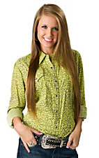 Rock 47™ by Wrangler® Women's Lime Green and Grey Leopard Print Long Sleeve Western Shirt