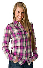 Rock 47™ by Wrangler® Women's Pink and Grey Plaid with Cross Embroidery Long Sleeve Western Shirt