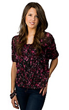 Rock 47™ by Wrangler® Women's Black with Pink and Grey Print Short Sleeve Chiffon Top